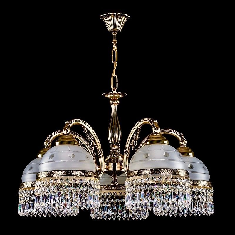 Brass crystal chandeliers and lighting