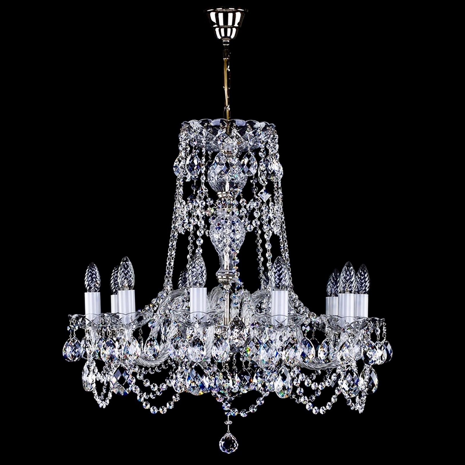 Crystal chandeliers and lighting with glass arms