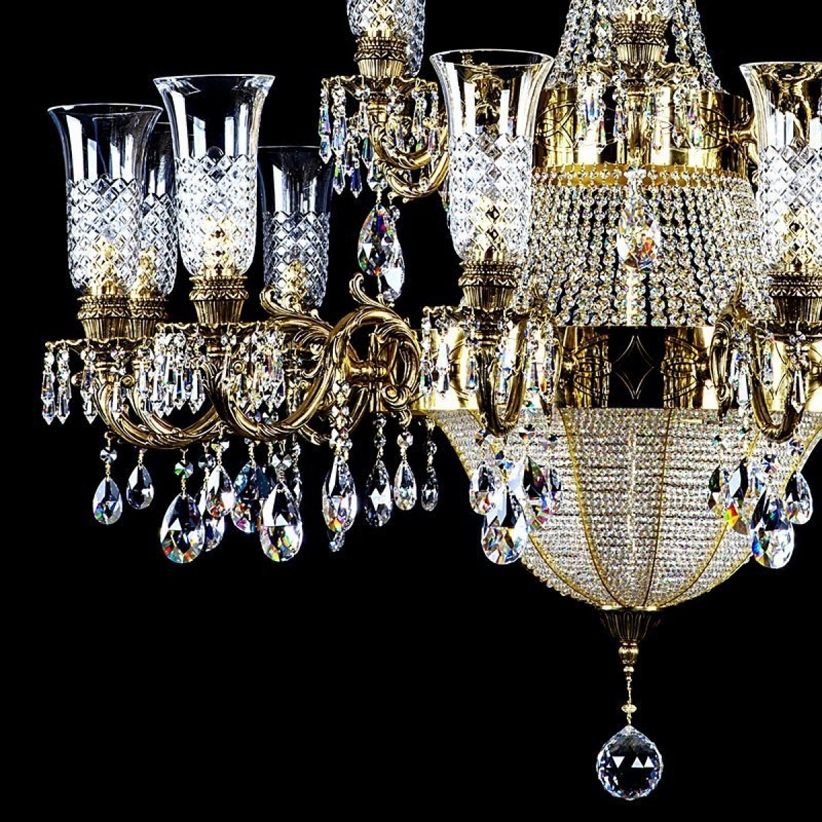 Crystal chandelier CROWN  Brass Antique