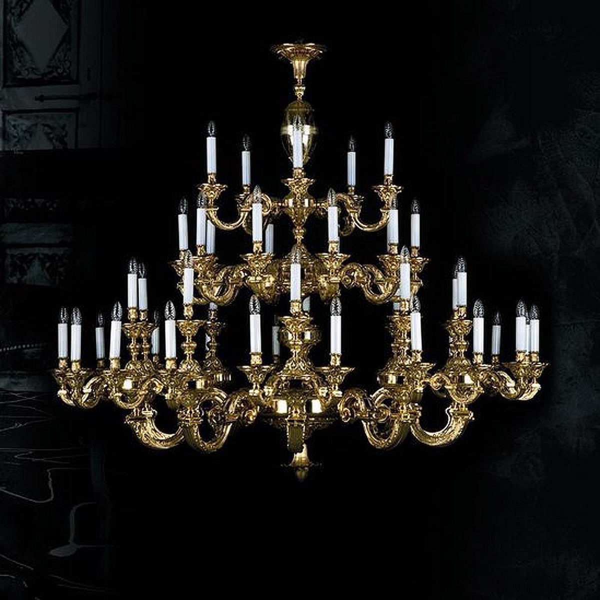 Brass chandelier THEA