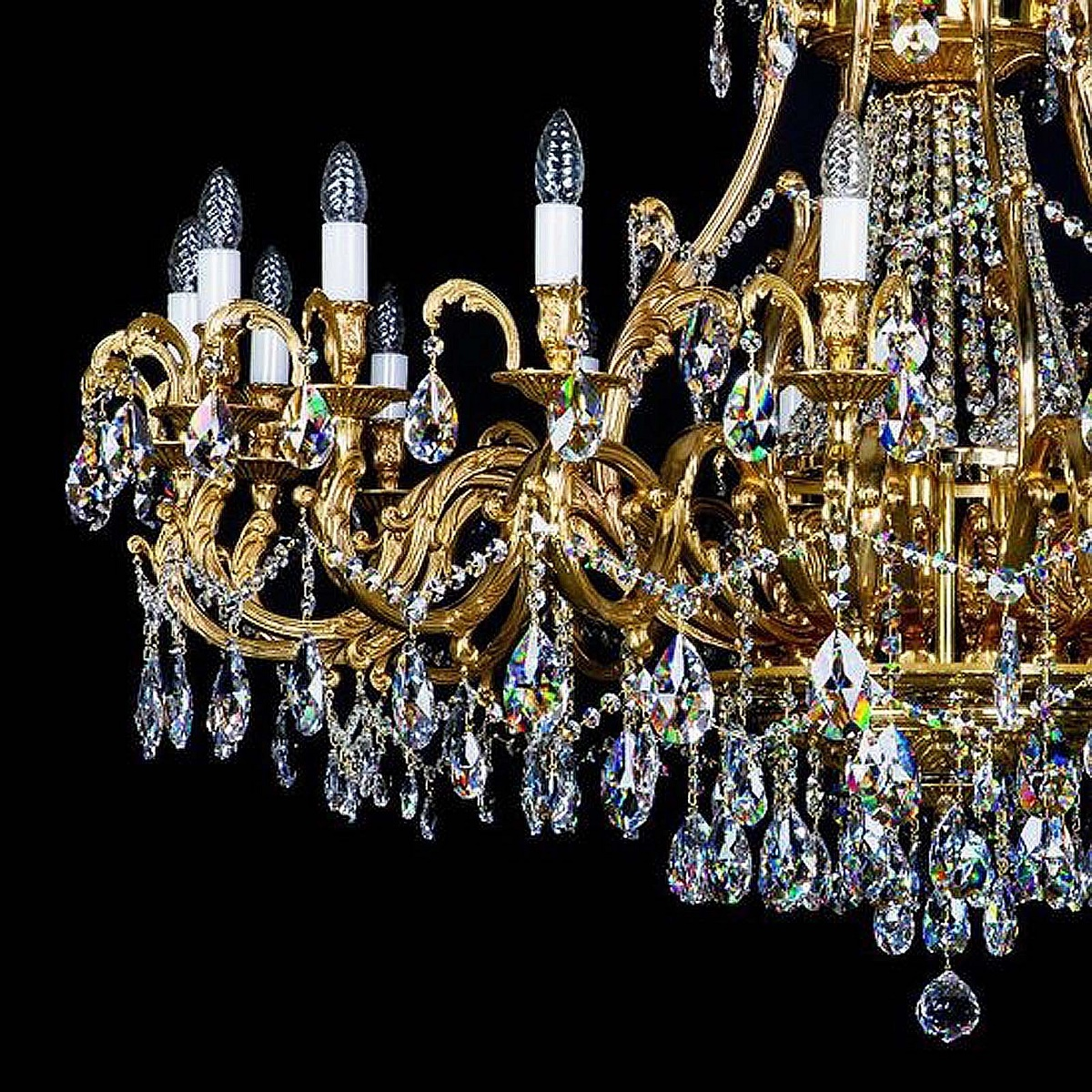 Brass chandelier LYRA 1420x1100