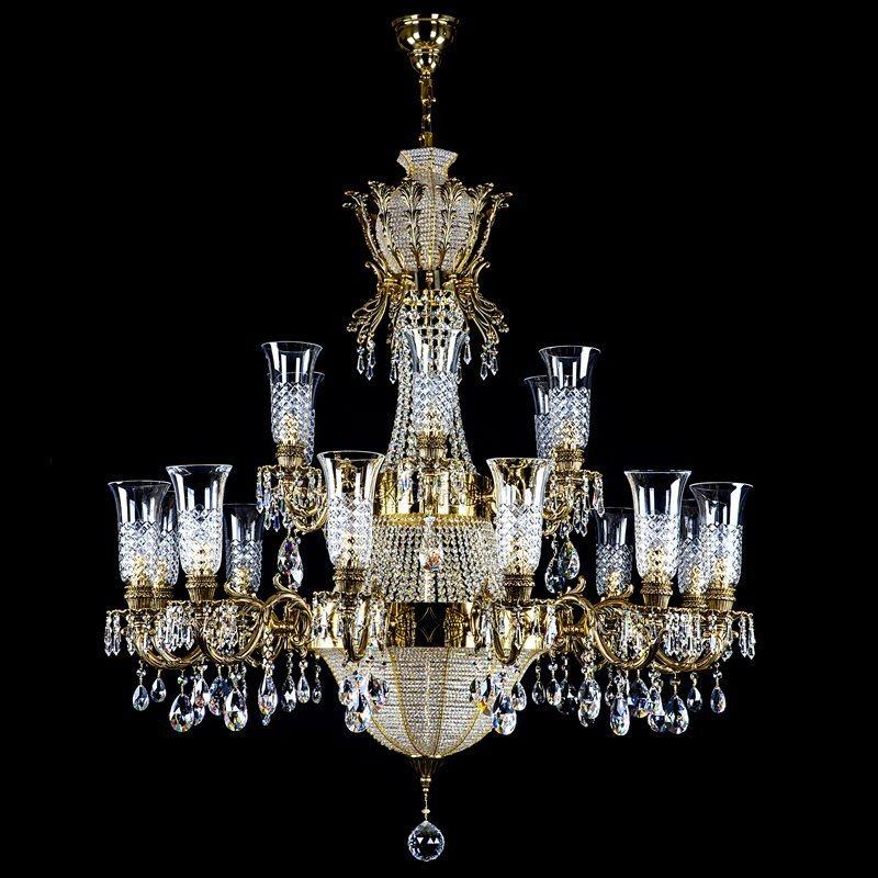Crystal chandelier CROWN  Brass Antique