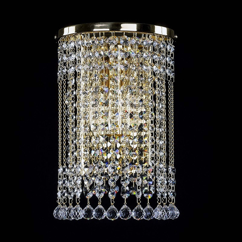 Crystal wall-mounted lighting fixture GWEN straight WL